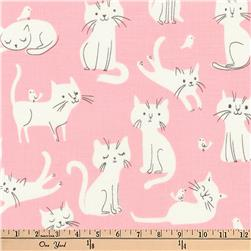 Kaufman Whiskers and Tails Kitties Pink