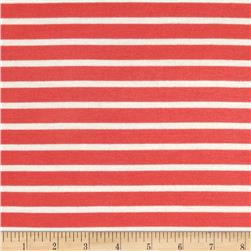 Stretch Rayon Jersey Knit Small Stripe Coral/White