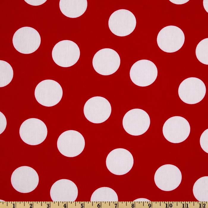Pimatex Basics Jumbo Dot Red/White Fabric