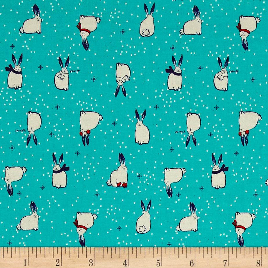 Image of Cotton + Steel Noel Snow Fuzzies Aqua Fabric