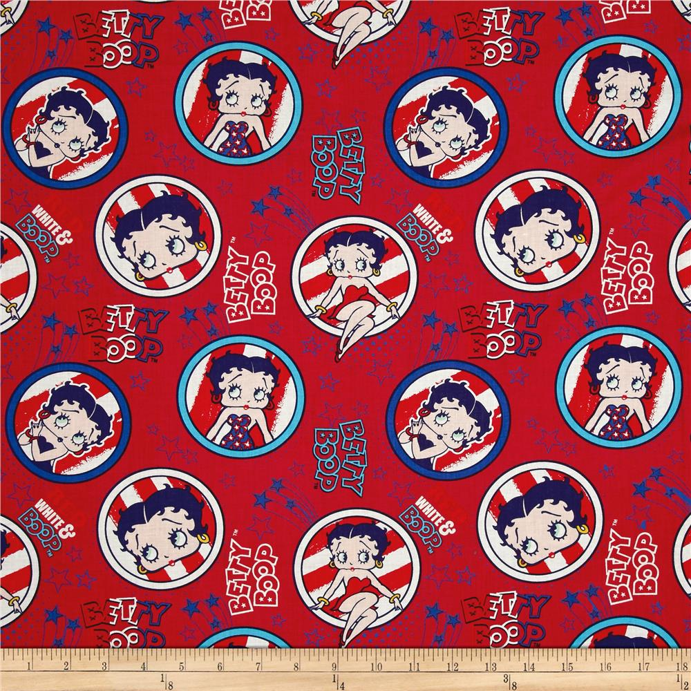 Red White & Boop Patriotic Dark Red Fabric