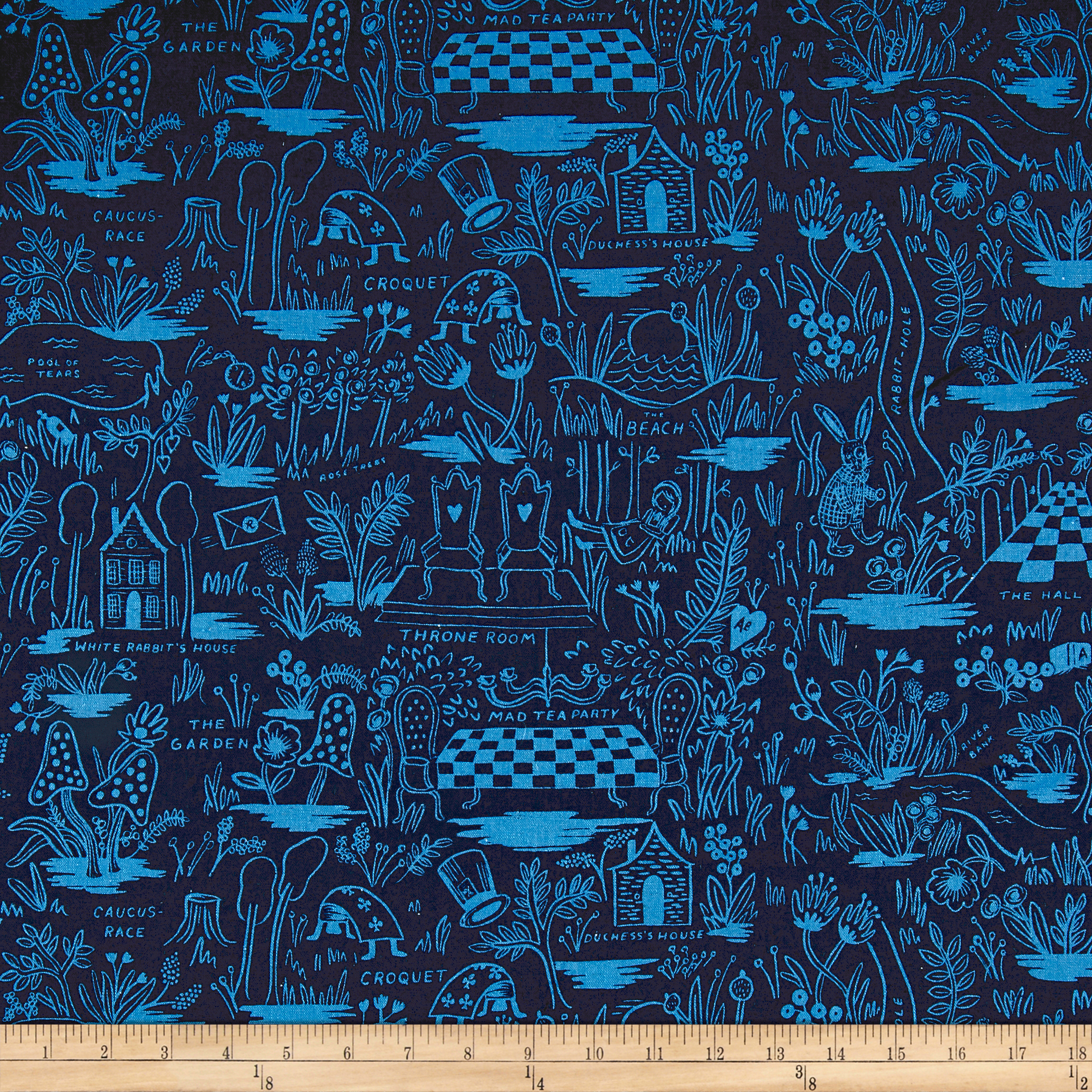 Image of Cotton + Steel Rifle Paper Co. Wonderland Canvas Magic Forest Navy Fabric