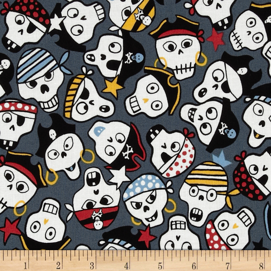 Monkey's Bizness Ahoy Pirate Skulls Blue Fabric