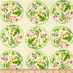 Heather Ross Tiger Lily Wreaths Cream