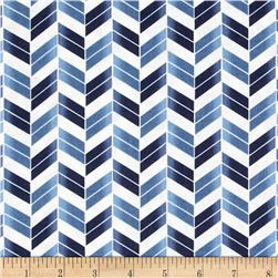 French Navy Broken Chevron Navy/Blue Fabric