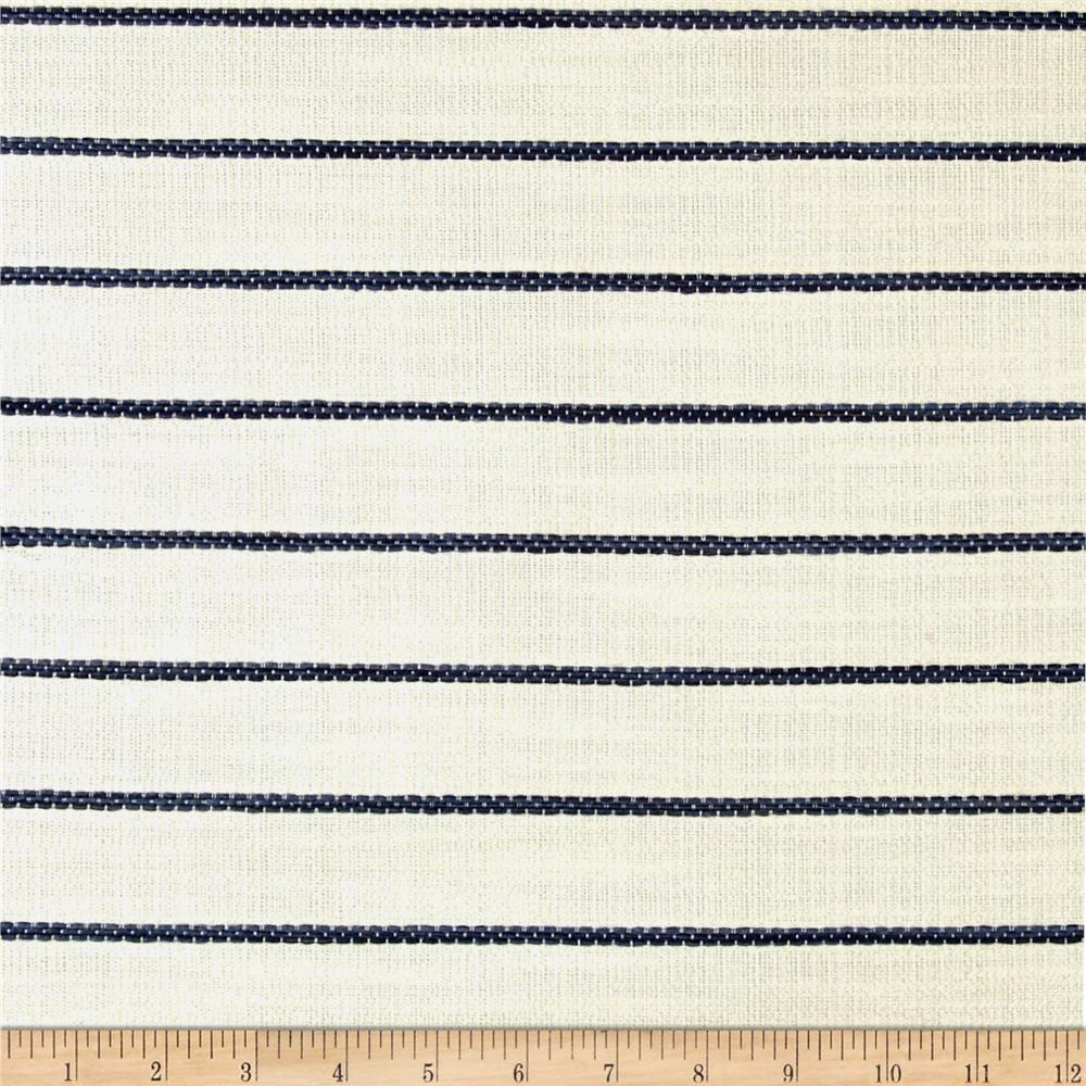 Wesley Mancini Home Faux Linen Basketweave Horizon Stripe Natural/Blue Fabric