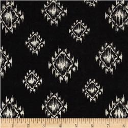 Stretch Cotton Hatchi Sweater Knit Aztec Geometric Black/White