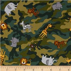 Kokka Jungle Animals Camo Green