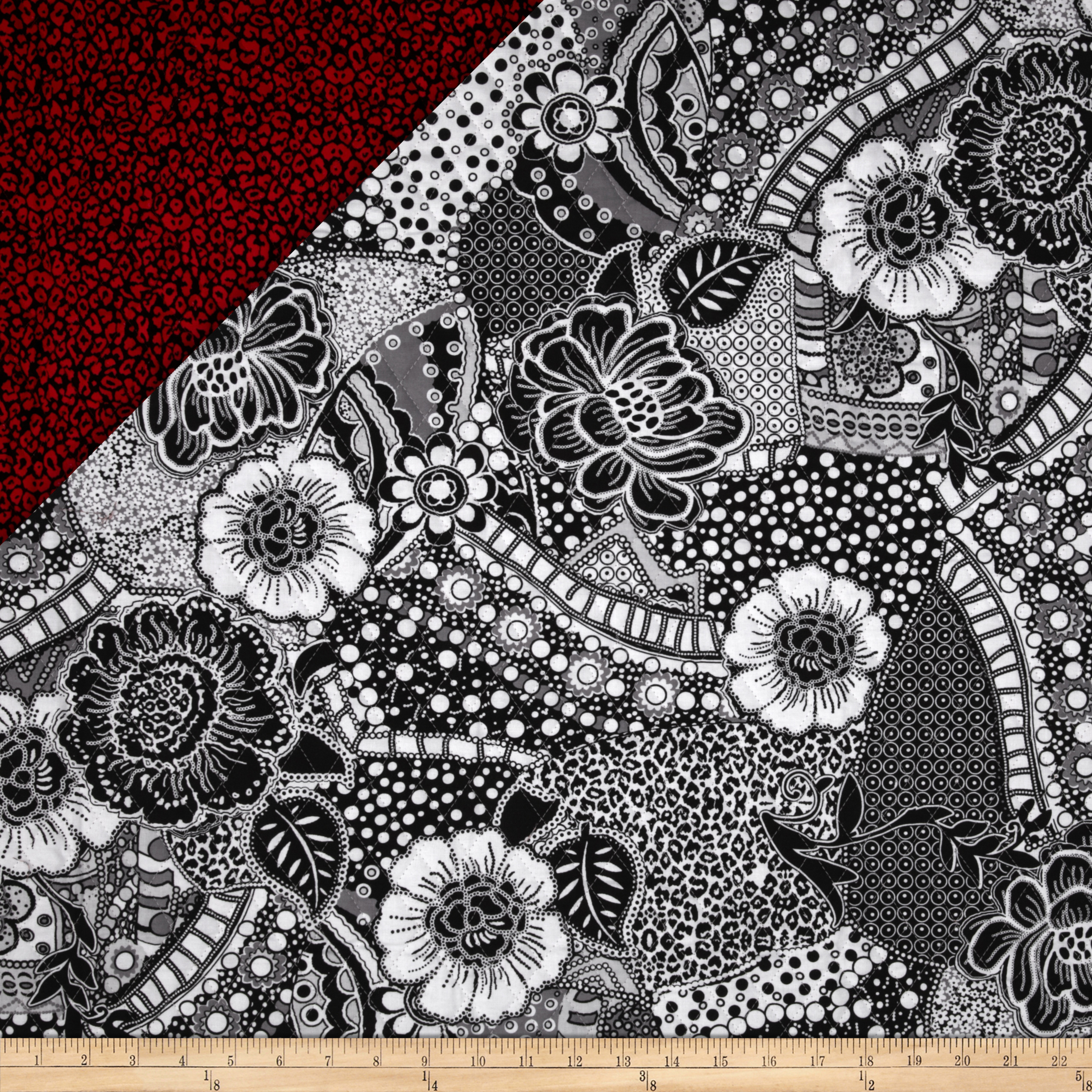 Black Tie Affair Double Sided Quilted Floral Black/Grey
