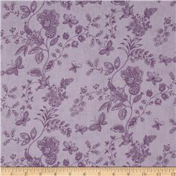 "108"" Wide Quilt Back Floral Butterfly Purple"