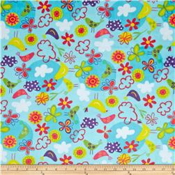 Minky Cuddle Fly Away Butterflies Turquoise Fabric