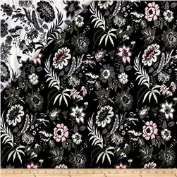 French Reversbile Stylized Floral Jacquard Black/White/Pink