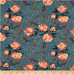 Birch Organic Acorn Trail Knit Peonies Blue