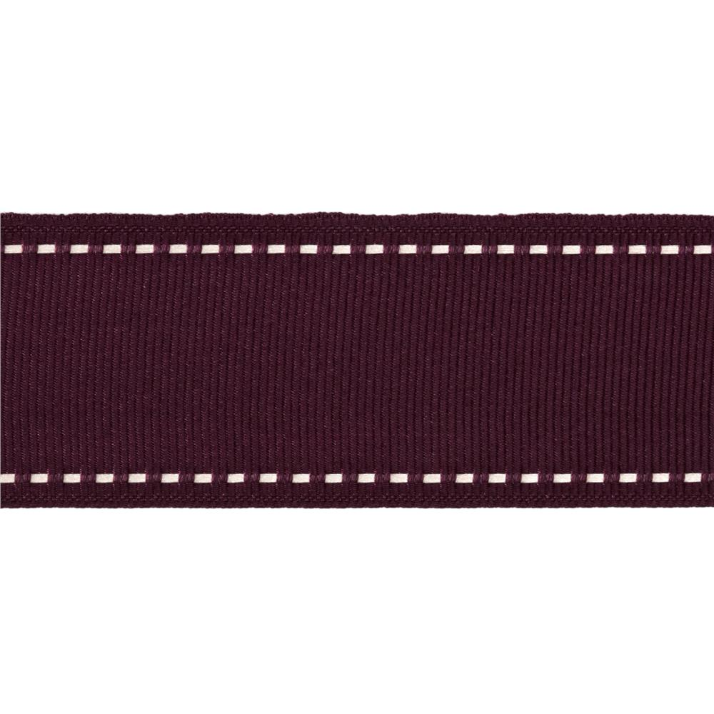 1 1/2'' Grosgrain Ribbon Saddle Stitch Burgundy/Ivory