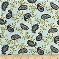 Moda Family Tree Paisley Robins Egg Blue