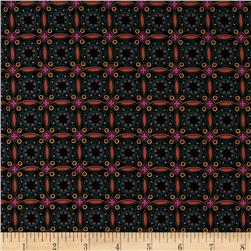 Moonlit Garden Mosaic Tile Morocco Black Fabric