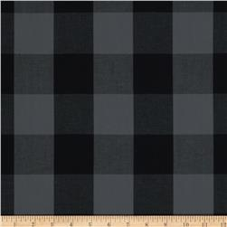 Stretch Yarn Dyed Shirting Large Check Grey/Black