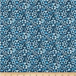 French Designer Rayon Challis Star Geo Blue