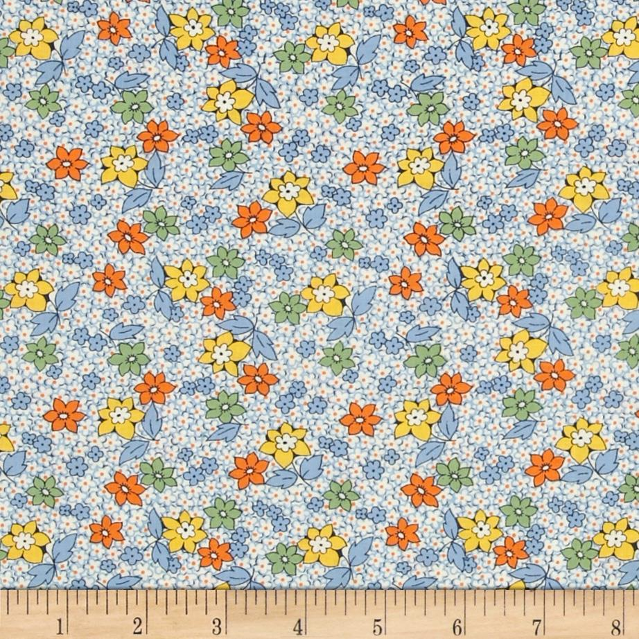 Aunt Grace Miniatures Floral Spray Blue