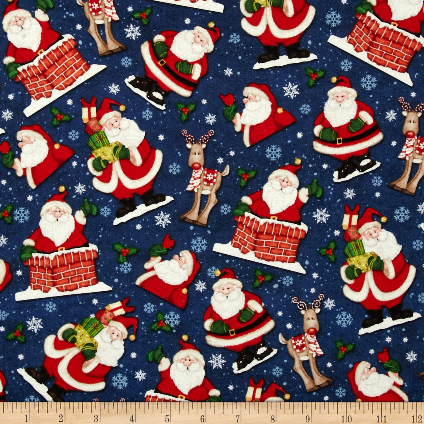 Believe Tossed Santa Navy Fabric