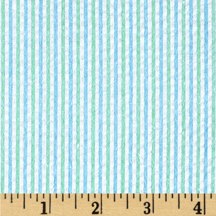Kaufman Classic Seersucker Stripe Mint Fabric