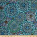 Timeless Treasures Enchanted Plume Metallic Medallions Turquoise