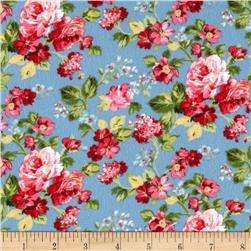 American Bouquet Flannel Small Floral Blue