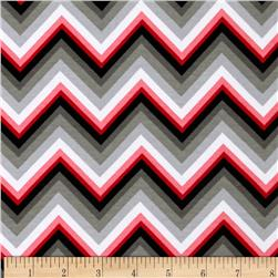 Kaufman Laguna Stretch Jersey Knit Chevron Red/Grey Fabric