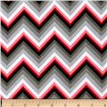 Kaufman Laguna Stretch Jersey Knit Chevron Red/Grey