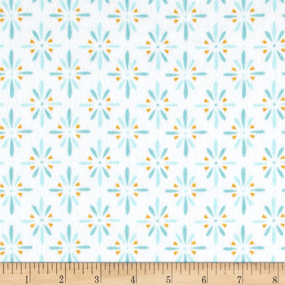 Cloud 9 Organic Flannel Burst Turquoise Fabric By The Yard