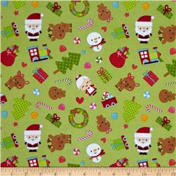 Riley Blake Santa Express Flannel Main Green