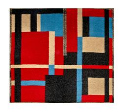Italian Designer Color Block Wool Ruana Poncho Panel Teal/Red/Black