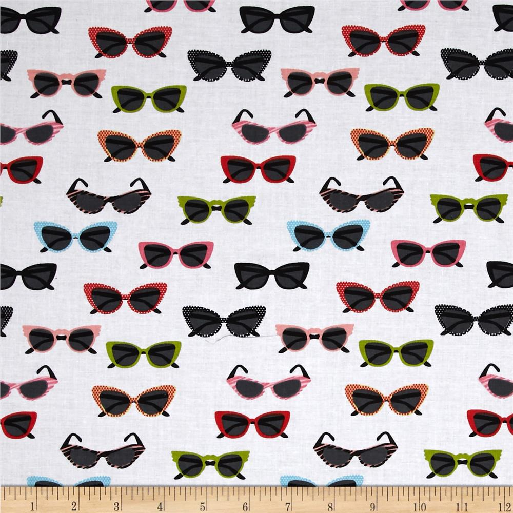 Riley Blake Novelty Glasses White