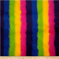 Fun Shag Faux Fur Ribbon and Stripes Rainbow