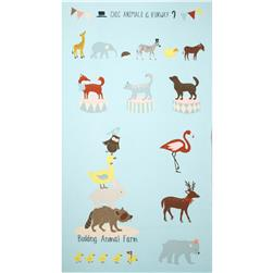 Kokka Animal Runway Panel Blue