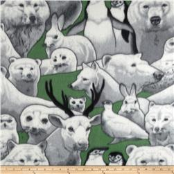 Wildlife Fleece Winter Animals Green/Grey/Black/White