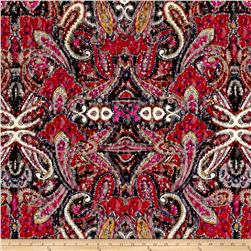Italian Designer Printed Lace Paisley Red/Pink/Black