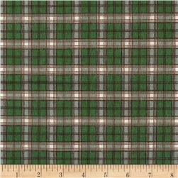 Big Country Flannel Plaid Green Fabric