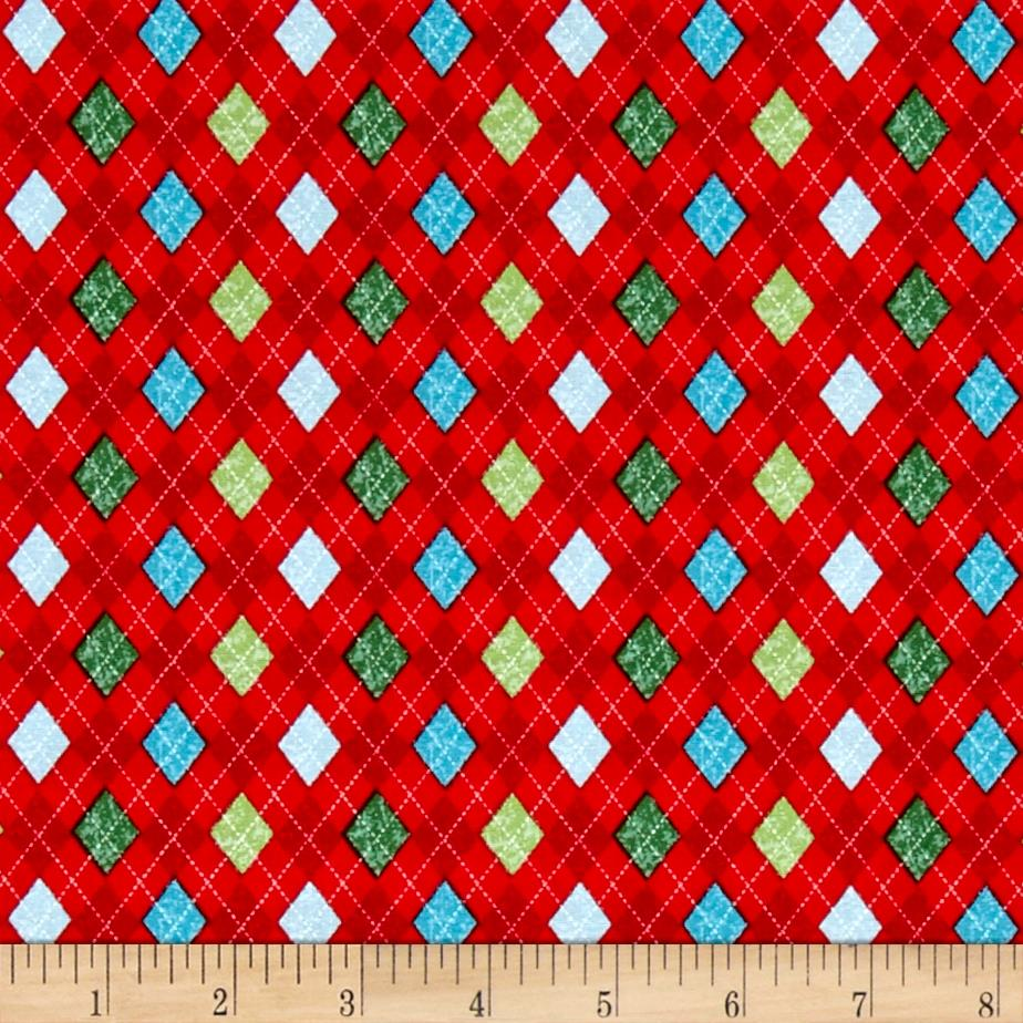 Snowman Christmas Argyle Red