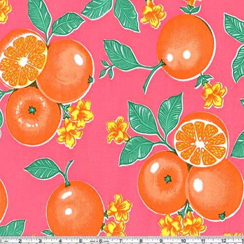 Oil Cloth Oranges Pink