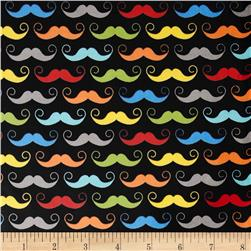 Riley Blake Geekly Chic Laminated Cotton Mustache Black