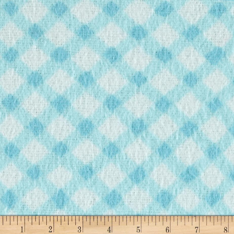 Nursery rhyme flannel diagonal gingham turquoise for Nursery fabric sale