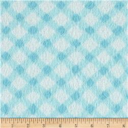 Nursery Rhyme Flannel Diagonal Gingham Turquoise Fabric