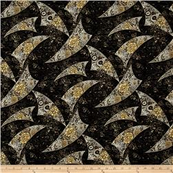 Zen Garden Metallic Floral Flags Black/Gold