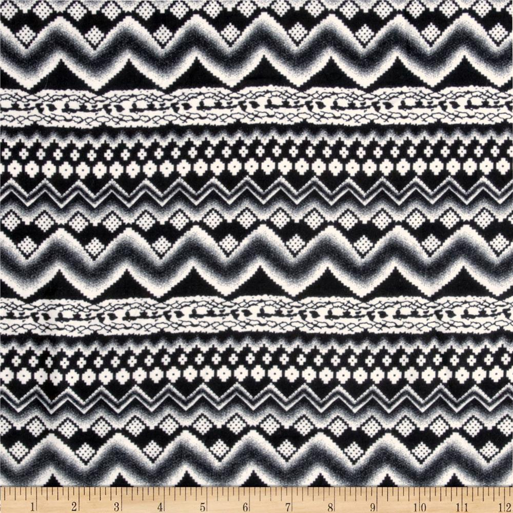Rayon Challis Abstract Tribal Black/White