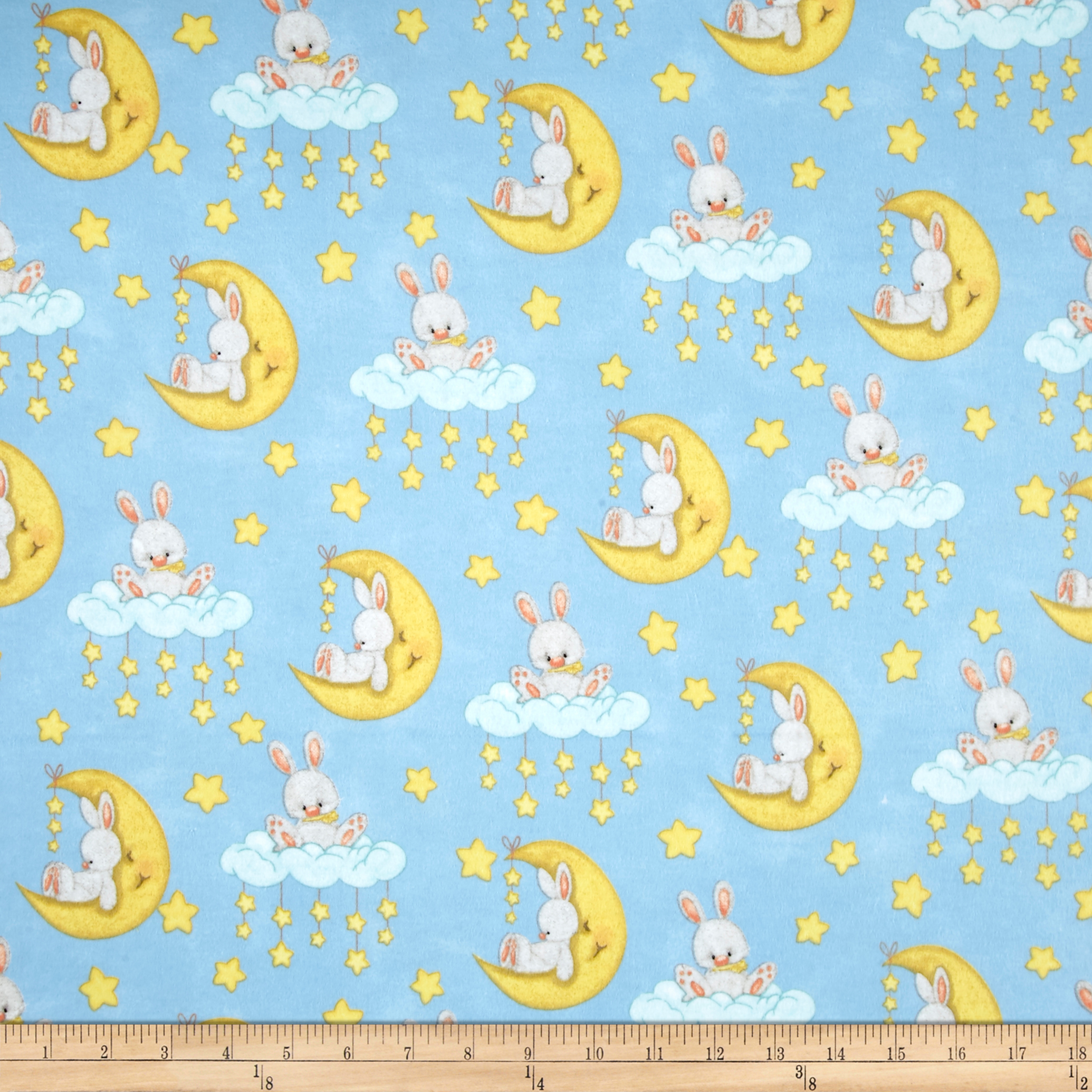 Comfy Flannel Bunny On Moon Multi Fabric by A. E. Nathan in USA