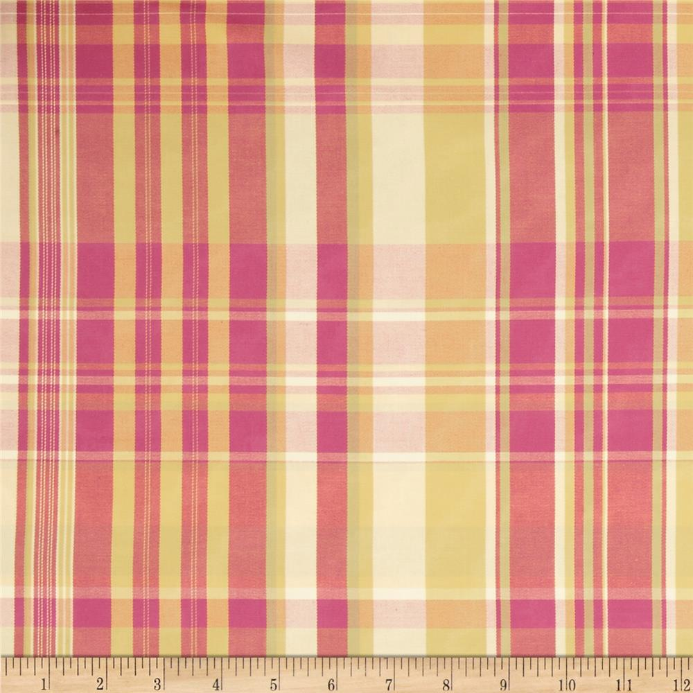 Robert Allen Promo Double Plaid Sateen Citrus Ruby