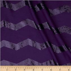 Soft Jersey Knit Sequin Chevron Purple