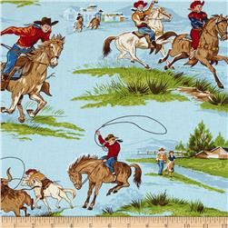 Ride 'Em Cowboy 2 Large Roping Cowboy Blue