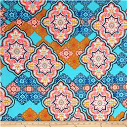 Liverpool Double Knit Print Bohemian Mint/Orange/Hot Pink